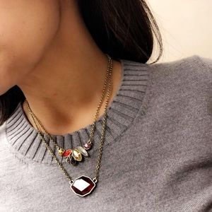 Ruby Red multi layer Pendant Necklace